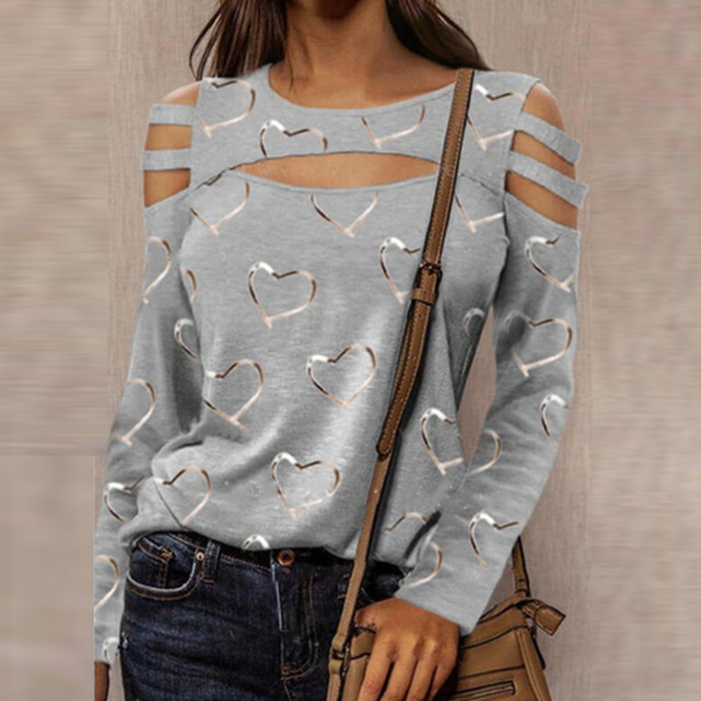 Women Casual O Neck Blouses Tops Sexy Ladies Hollow Out Long Sleeve Pullovers 2021 Spring Elegant Love Heart Print Shirt Blusas 2