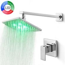 SKOWLL LED Shower Set Hot & Cold Mixer System 8-inchs Brass rainfall shower head