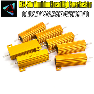 RX24 50W Watt Shell Power Metal de Alumínio Ouro Resistor 0.1 0.5 1 1.5 2 2.5 3 4 5 6 8 10 Resistência