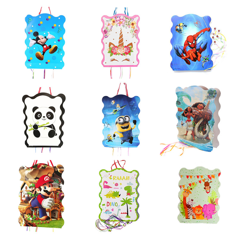 19 Types Cartoon Pinata Super Mario Princess Mickey Minnie Moana Party Decoration For Kids Birthday Festival Gift Toy Supplies