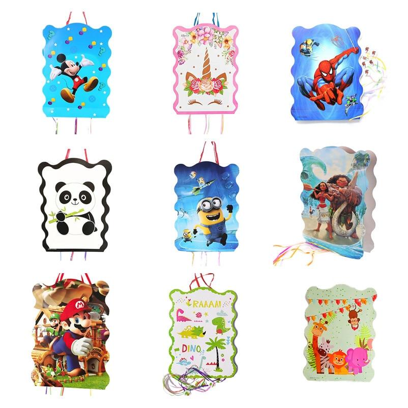 19 Types Cartoon Pinata Super Mario Princess Mickey Minnie Moana Party Decoration For Kids Birthday Festival Gift Toy Supplies