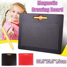 Магнитный планшет 33,5x25,5 см, магнитная подушка, доска для рисования из стальных бусин, стилус, Обучающие игрушки для письма, подарок для детей