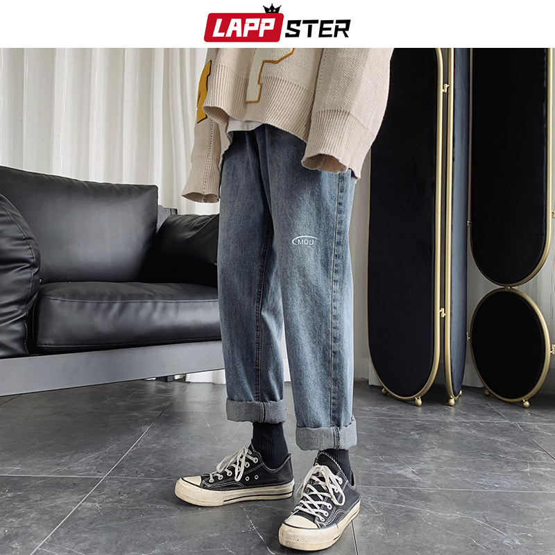 LAPPSTER Men Letter Harajuku Blue Jeans Blue 2020 Harem Pants Mens Japanese Streetwear Hip Hop Denim Male Loose Wide Leg Pants