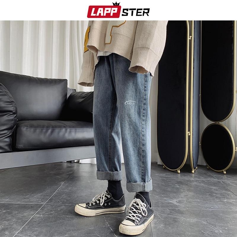 LAPPSTER Men Letter Harajuku Blue Jeans Blue 2020 Harem Pants Mens Japanese Streetwear Hip Hop Denim Male Loose Wide Leg Pants