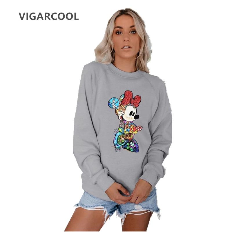 VIGARCOOL Best Seller 2019 Autumn & Winter Women's Multicolored Mickey Round Neck Long Sleeve Sweatshirt New Fashion Coat Female