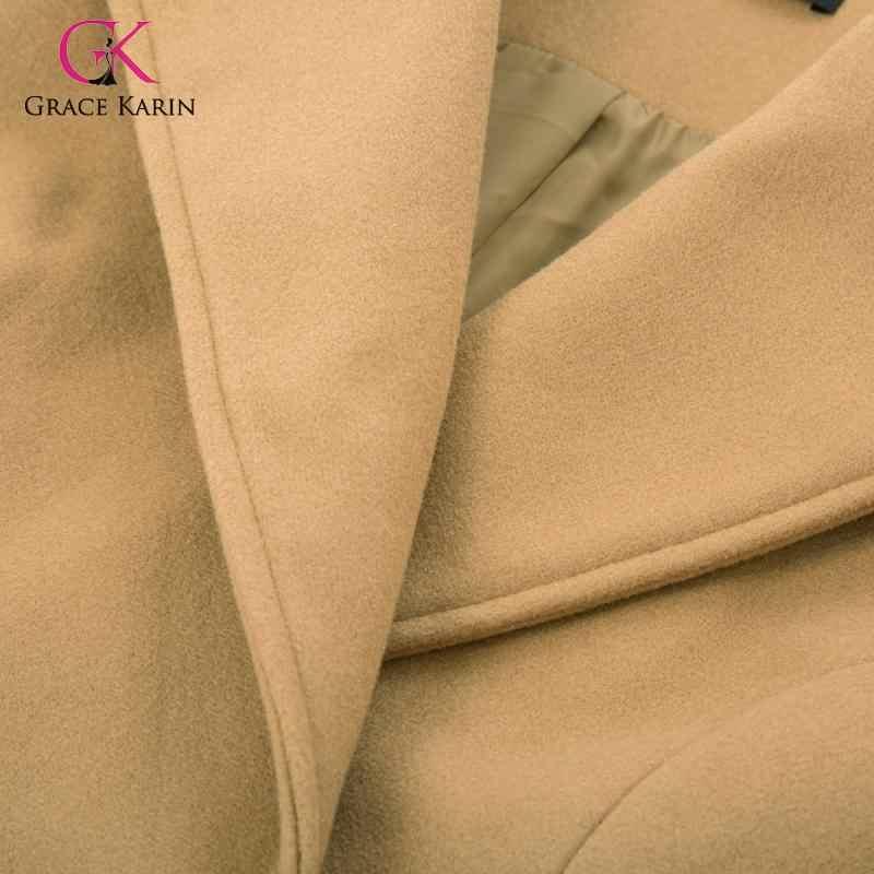 Grace Karin 2020 Musim Dingin Campuran Wol Mantel Lengan Panjang Kerah Mantel Wanita Musim Dingin Hangat Panjang Peacoat Lebih Tahan Dr Elegan Wanita
