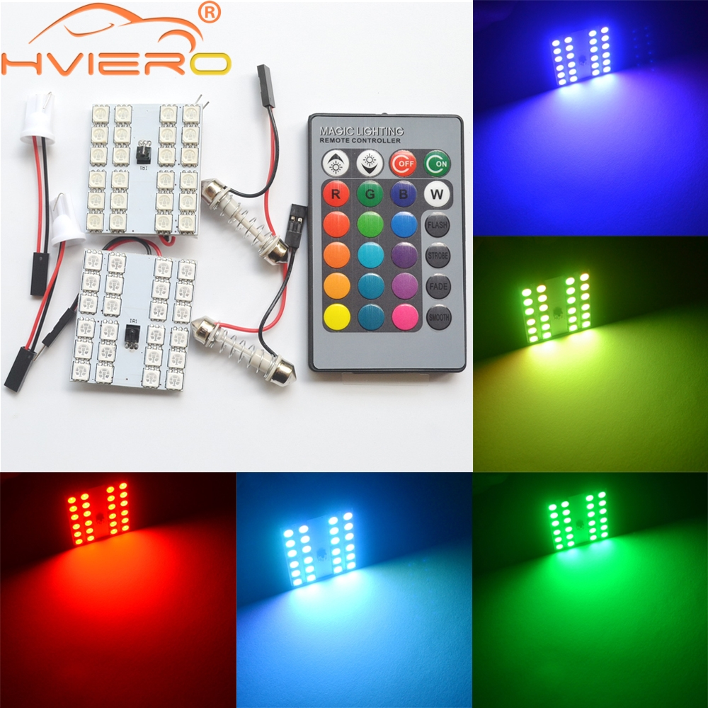 2X T10 W5W 24smd Remote Control Rgb Map Led Panel Auto Interior Lights Reading Bulb Dome Festoon Door Light BA9S Adapter DC 12V