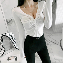 CINESSD The Sexy Streetwear Blouse Render T-shirt  Women Autumn Korean Style White Chiffon Long Sleeved V-Neck Female