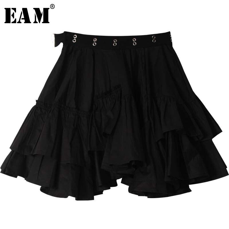 [EAM] High Elastic Waist Black Ruffles Asymmetrical Temperament Half-body Skirt Women Fashion Tide New Spring Autumn 2020 1S461