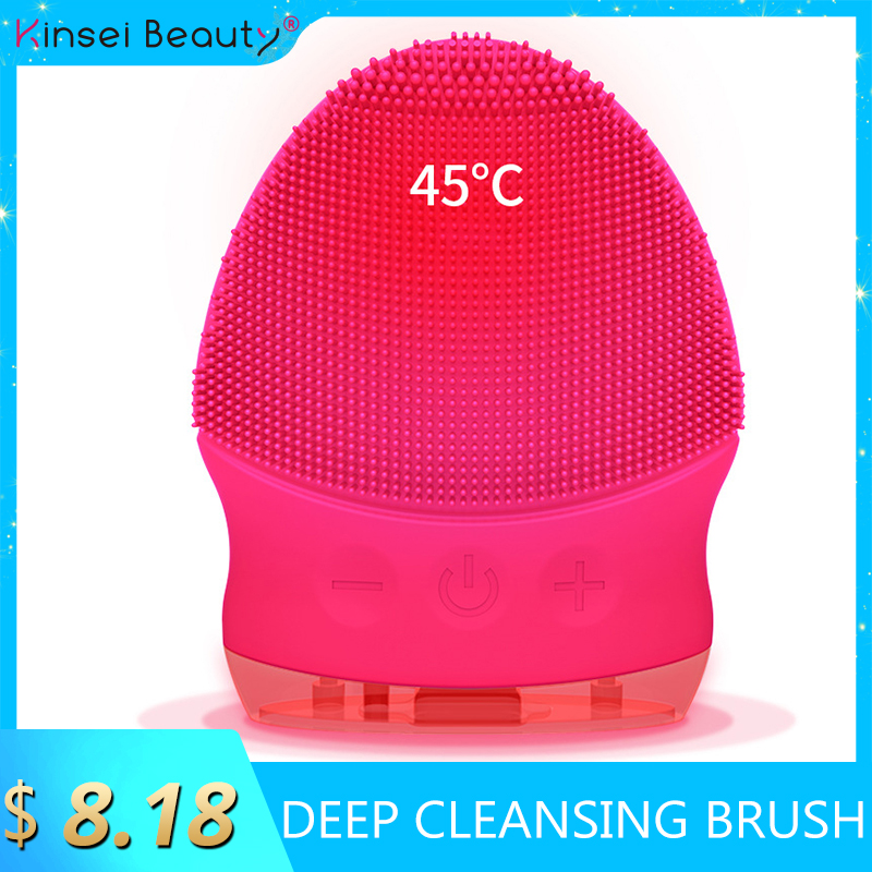 Mini Warm Electric Facial Cleansing Brush Silicone Sonic Vibration Cleaner Deep Pore Cleaning Skin Massage Face Brush Face Clean