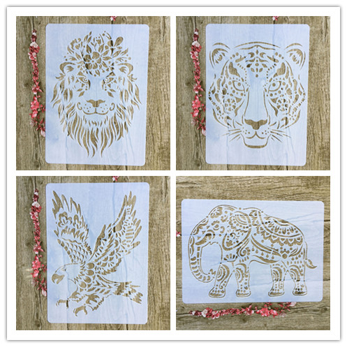 4pcs / Set A4 Tiger Lion Eagle Elephant Stencils Painting Coloring Embossing Scrapbook Album Decorative Template For Walls