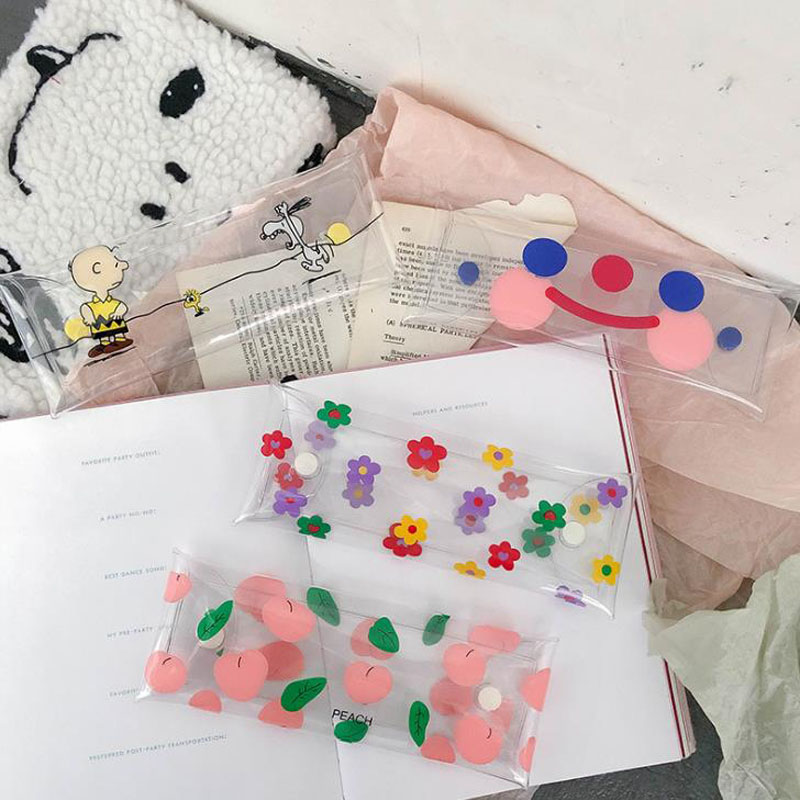 1 Pcs Kawaii Transparent Flower Peach Smile Face Printing Pencil Bags High Capacity Pencil Cases Cosmetic Pouch Bag Stationery