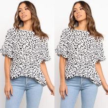 Manches papillon col rond imprimé léopard été à manches courtes t-shirts femmes volants irréguliers décontracté Streetwear t-shirt Blanc Femme