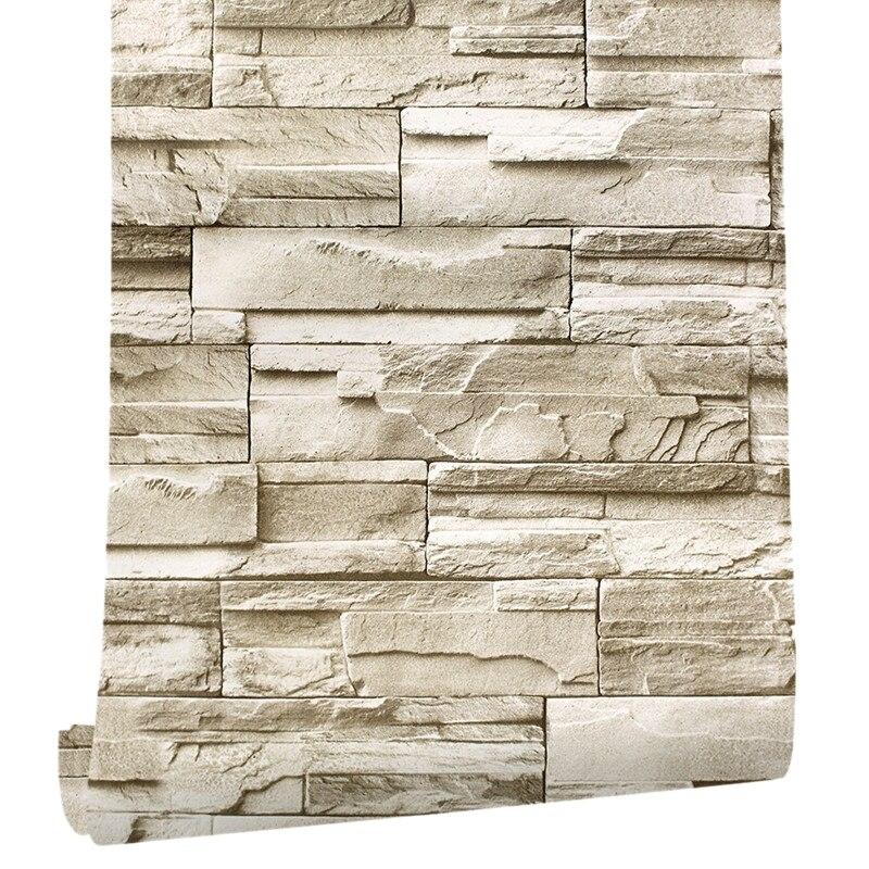 6M Vinyl 3D Brick Rock Wall Sticker Paper Waterproof Self Adhesive DIY Wallpaper Furniture Wall Stickers Bedroom Art Home Wall