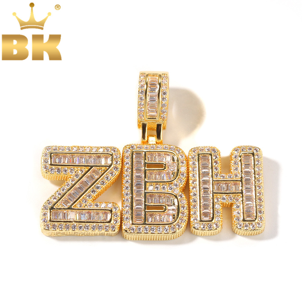 Letters Pendant Necklace Jewelry Tennis-Chain Cubic-Zircon Initial Bling-King-Iced THE