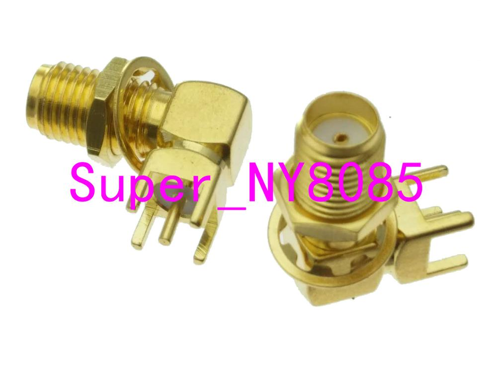 SMA Female JACK Nut Bulkhead Solder For PCB Mount RF Connector Right Angle
