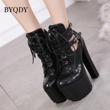 BYQDY Sexy Motorcycle Boots Women Shoes Lace-up Thick High Heels Platform Ankle Punk Waterproof Autumn Casual Warm