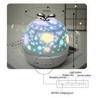 360 Вращающийся звездное небо Ночной Светильник проектор оснащен 6 проекторами Xiaocao Музыка Звездное небо Проектор лампа HUG-предложения