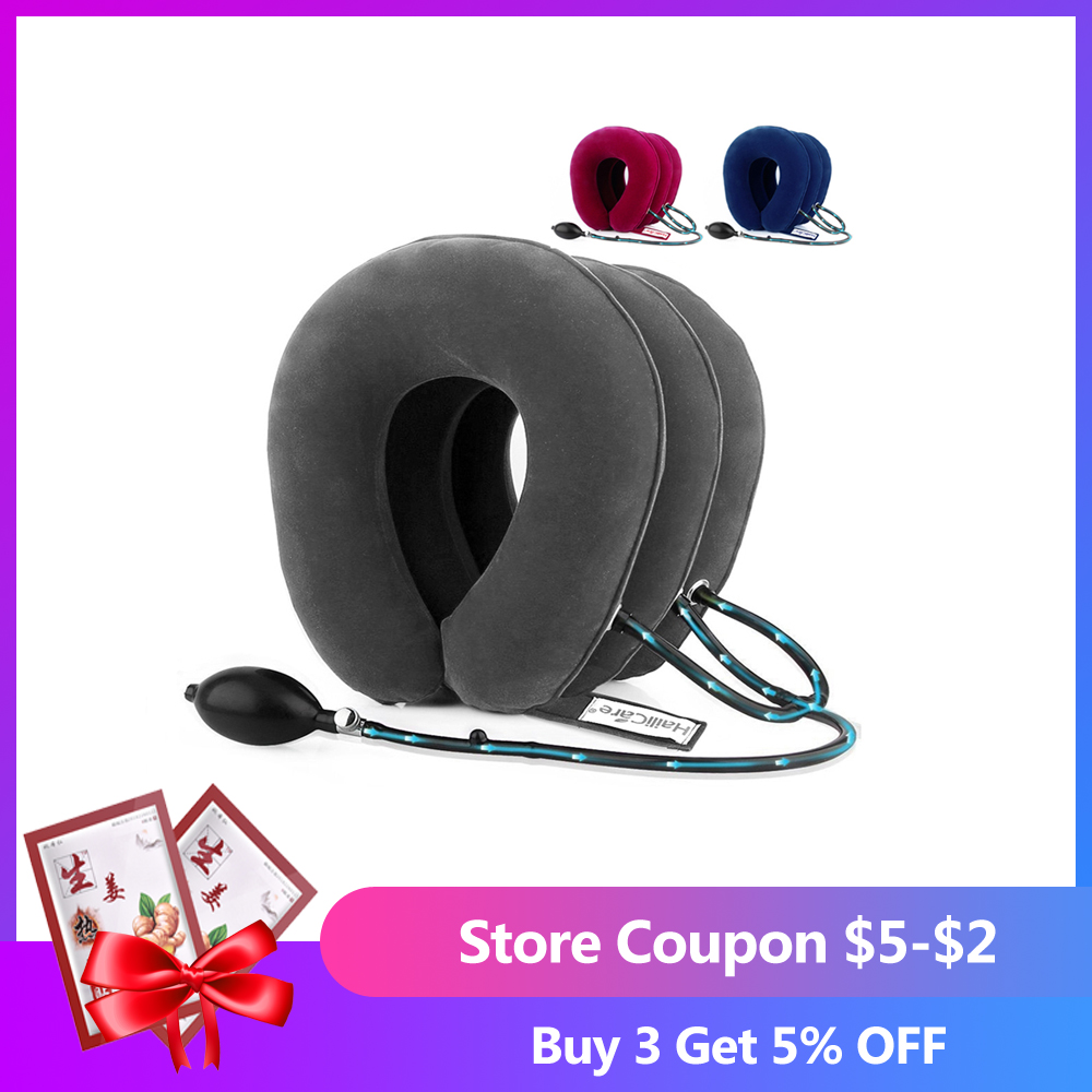 US Stock3 Layer Inflatable Air Cervical Neck Traction Device Soft Neck Collar for Pain Relief Neck