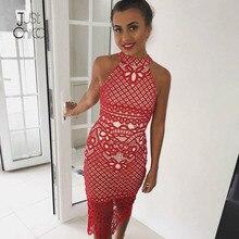 Justchicc nowa sukienka Bodycon Midi lato Vestidos jesień klubowa Backless koronkowa czerwona sukienka kobiety haftują kwiatowe seksowne sukienki