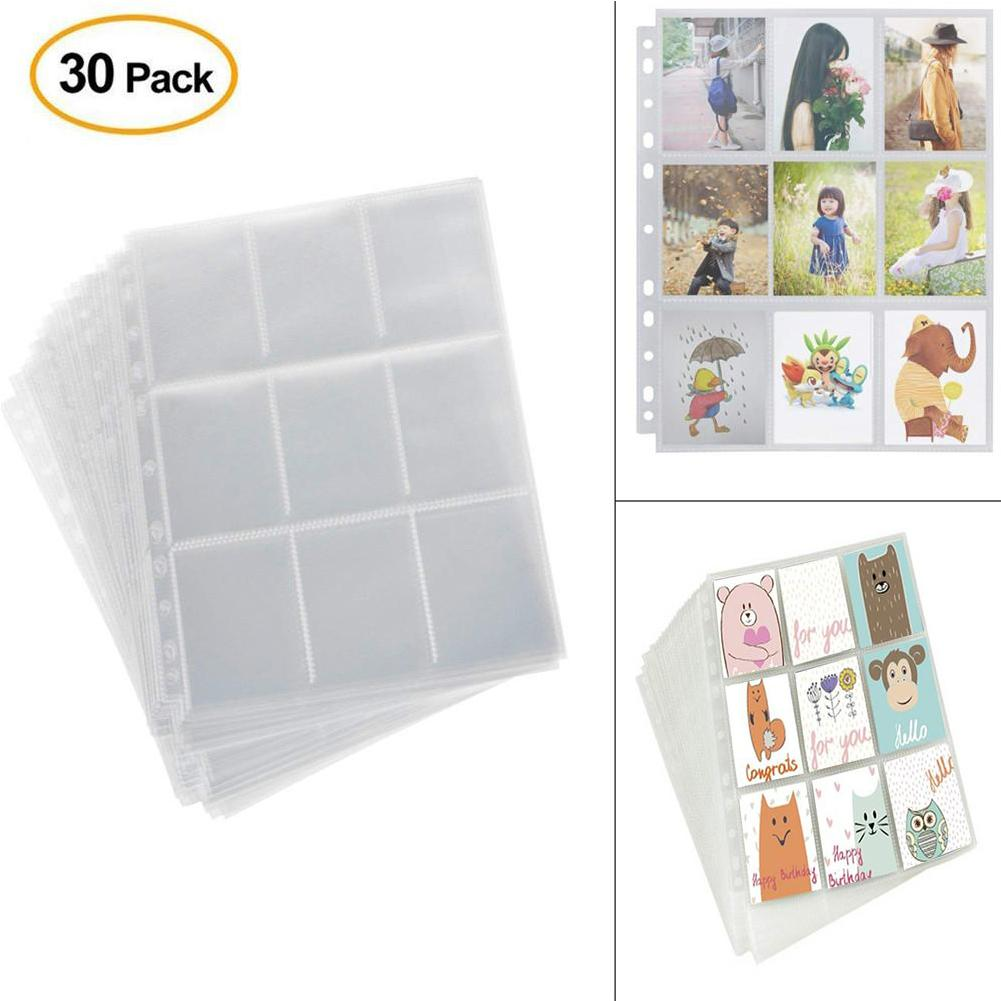 5X 9 Pocket Trading Card Sleeves Storage Wallet Album Transparent Page Game Card