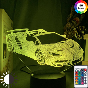 3d Illusion Lamp Sports Car Nightlight for Child Bedroom Decor Color Changing Atmosphere Event Prize Led Night Light Supercar assassins creed altair figure led night light for kids bedroom home decor color changing baby nightlight for child night lamp 3d