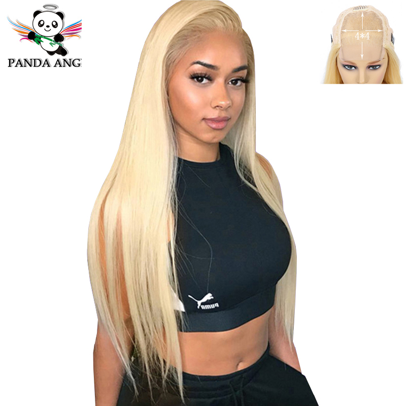 Panda 4x4 Blonde 613 Lace Wigs Brazilian Hair Blonde Straight Lace Closure Wig 150% Density 613 Blonde Human Hair Lace Wigs Remy