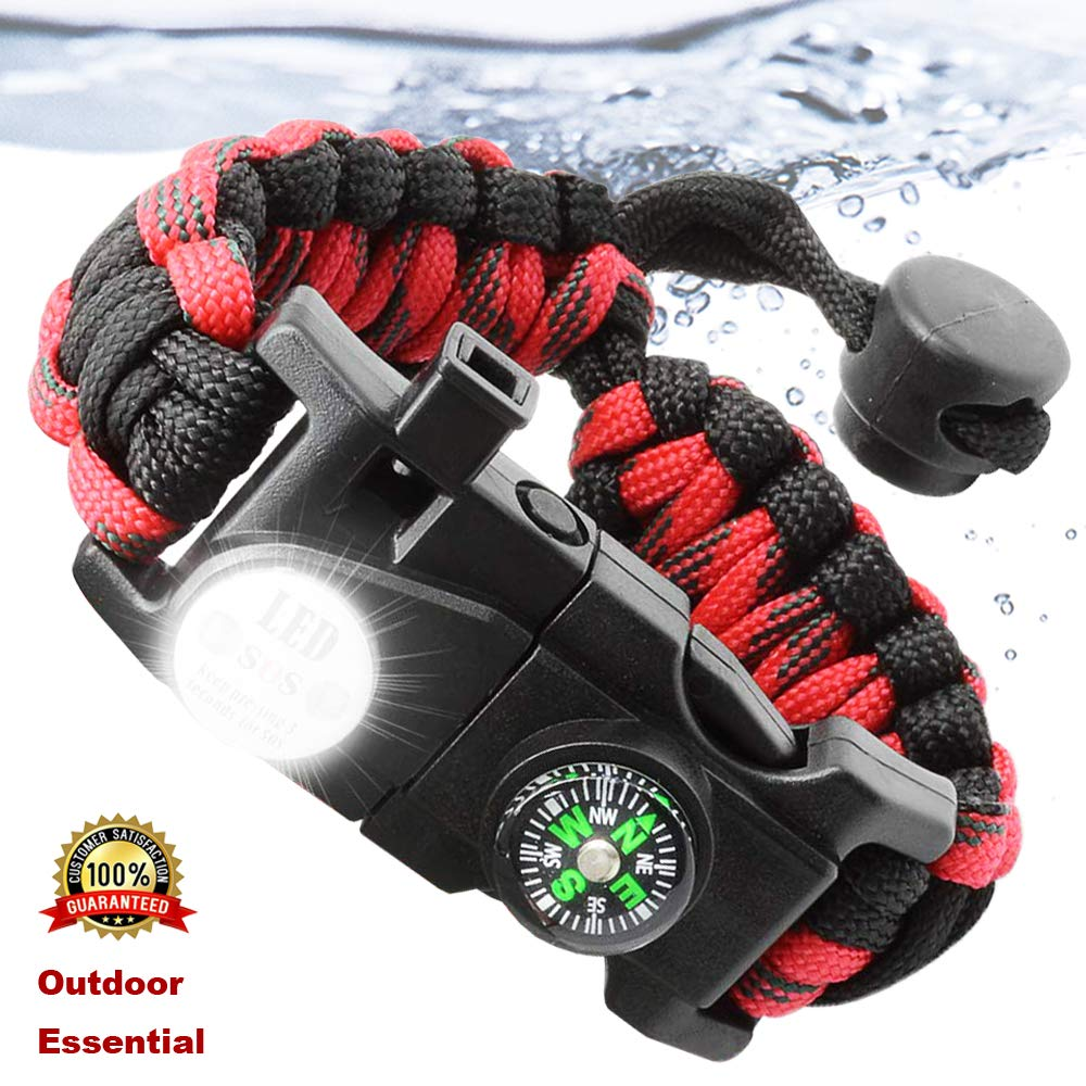 Outdoor Survival Wristband Paracord Bracelet Waterproof SOS LED Light Emergency Knife Whistle Compass Multi Tools Camp Equipment