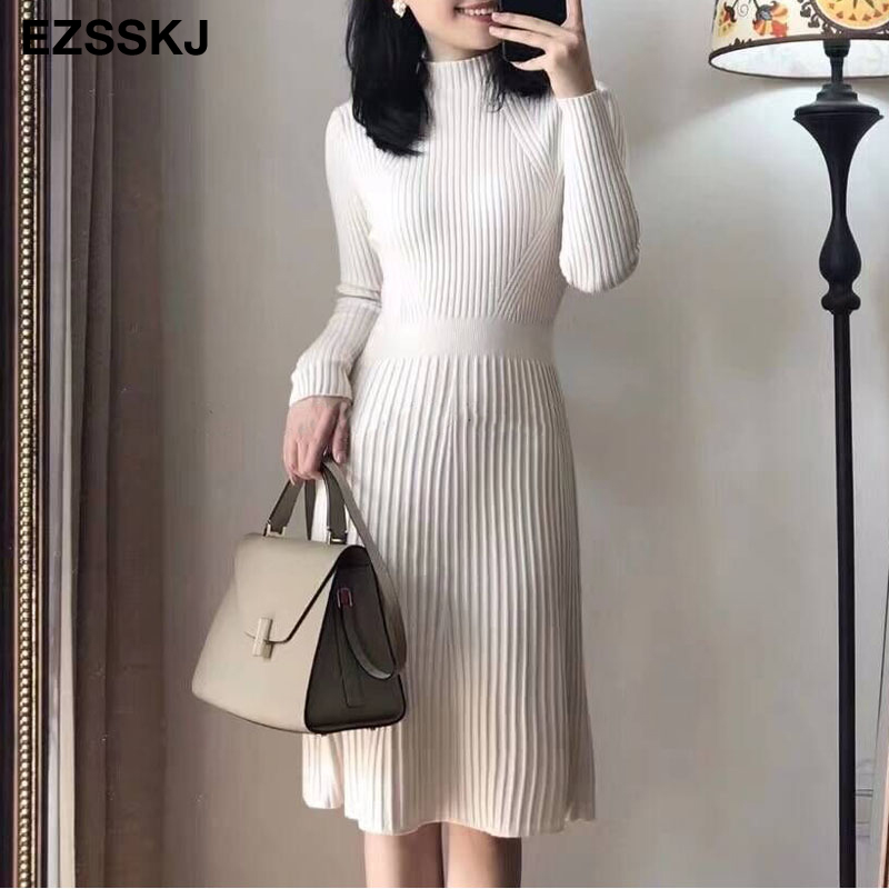 elegant OL turtleneck slim long Sweater dress women Thick knit Autumn Winter dress female Slim A