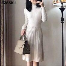 elegant OL turtleneck slim long Sweater dress women Thick knit Autumn Winter dress female Slim A line basic dress casual