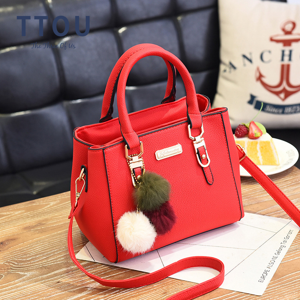 Women Beading Pendant Handbag Embossed Shoulder Bag Quality Leather Female Top-handle Bag Casual Tote Bag Ladies' Messenger Bag