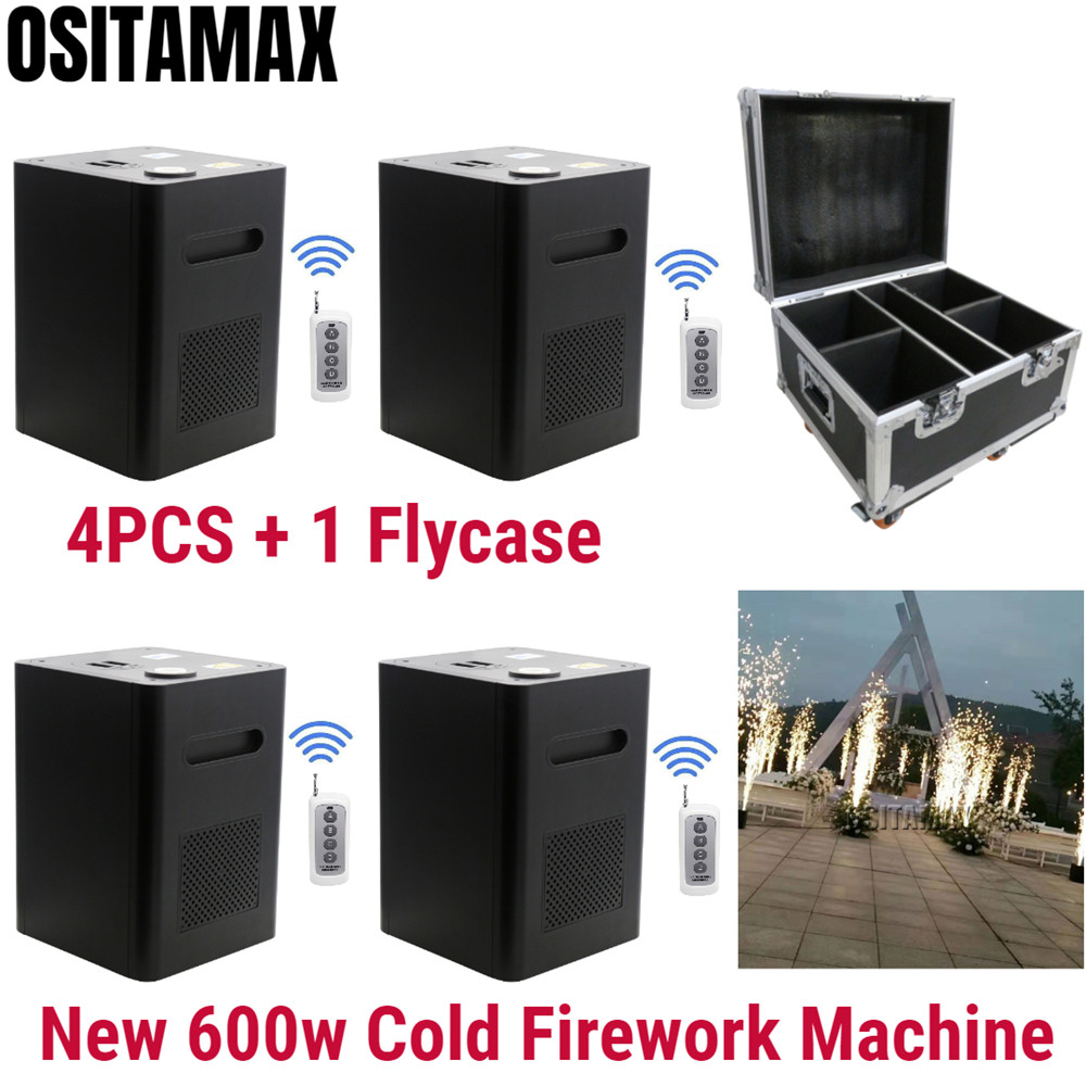 4PCS+Flycase 600w Cold Fireworks Pyrotechnics Machine Remote Control Stage Equipment Spark Firework Flame Wedding Fountain
