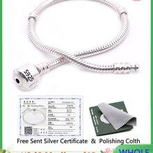 Бесплатно отправлен сертификат 925 пробы серебро оригинальный браслет с S925 логотип Для женщин Сделай Сам бисер подвеска браслет LD925