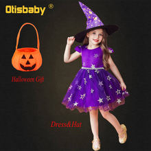 Christmas Halloween Girls Witch Costume New Year Infant Dress Baby Star Embroidery Tutu Dress Purple Red Black Girls Clothing(China)