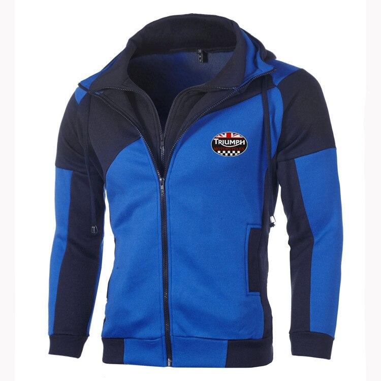 Мужская модная толстовка с логотипом Triumph, спортивная одежда, хлопковая толстовка Triumph на двойной молнии, мотоциклетное пальто, верхняя одеж...