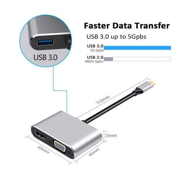 4 en 1 USB-C HDMI tipo c a 4K HDMI adaptador VGA USB3.0 de Audio convertidor de vídeo de 87W cargador rápido para Macbook pro Samsung s9 s10