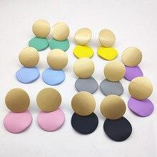 Fashion Luxury Jewelry Round Matte Geometric Earrings Hanging 18mm Metal Pendant Gold for Women Gift