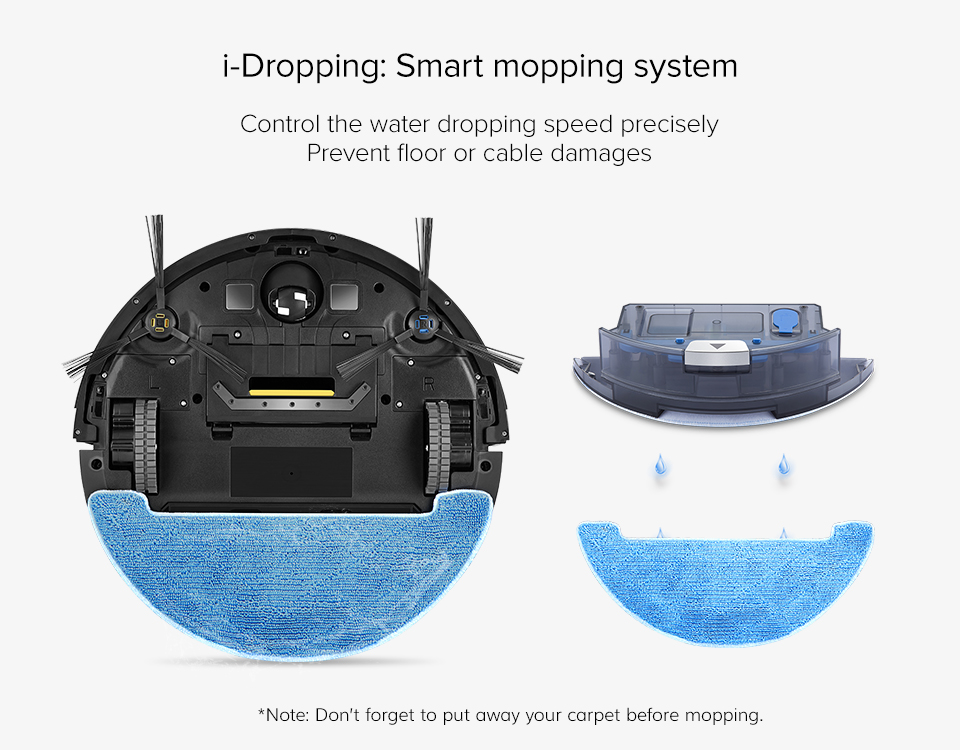 H4809f0e0866042cba79368f1fea70a18V ILIFE V8s Robot Vacuum Cleaner Sweep&Wet Mop Navigation Planned Cleaning large Dustbin large Water Tank Schedule disinfection