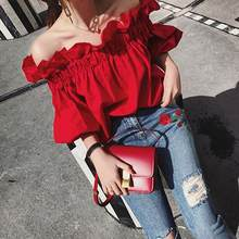 Summer off shoulder red cotton women Slash neck blouse Casual half Flare sleeve beach girls sexy tops blusas DF256(China)
