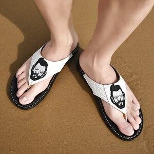 Image 3 - Hommes plein air sandales 2020 nouveau cuir chevrons tongs décontracté mode antidérapant résistant à lusure marée chaussures