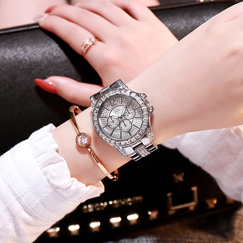 New gold tricolor quartz watch fashion casual fake three eye six needle diamond alloy wristwatch for ladies