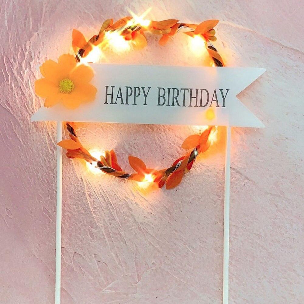 1 шт. цветочный венок торт Топпер светодиодный светящийся День рождения украшение душевой кабины для малышей DIY выпечки Торт Топ флаги вставки поставки - Цвет: Orange