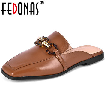 FEDONAS  Women 2020 Round Toe Pumps New Arrival Genuine Leather Mules Slippers Thick Heels Summer Sandals Shallow Shoes Woman