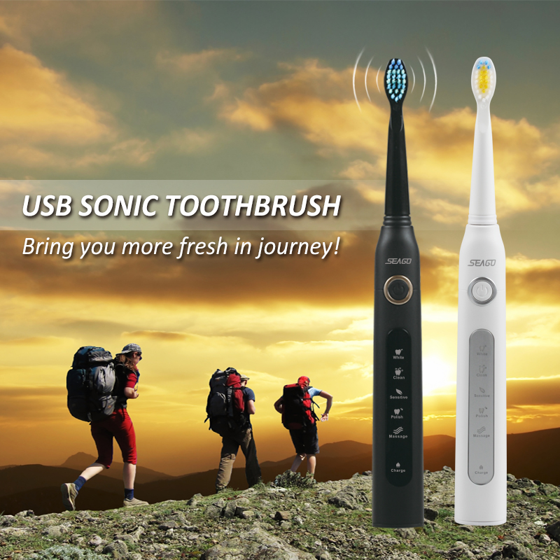 Sonic Electric Toothbrush 3 Replaceable Brush Heads for Adult USB Rechargeable Power Tooth Brush Portable Traveling Waterproof image
