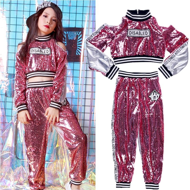Popular Girls Stage Costume Jazz Sequins Dancing Outfits Children Hip Hop Set Mosaic Kid Street Dance Performance Clothing