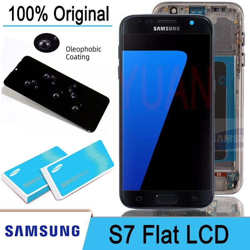 ЖК-дисплей Super AMOLED 5,1 дюйма с рамкой для SAMSUNG Galaxy S7 плоский дисплей G930 G930F сенсорный экран дигитайзер в сборе