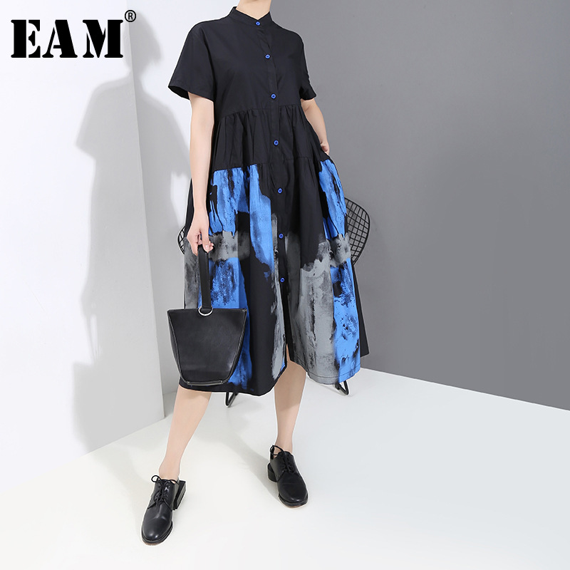 [EAM] Women Black Pattern Printed Shirt Dress New Stand Collar Short Sleeve Loose Fit Fashion Tide Spring Autumn 2020 1T451
