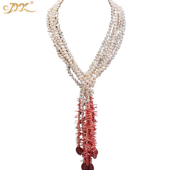 "JYX 618sale Super Elegant Coral Tassel with natural pearls necklace 7*8mm red agate 50"" women style"