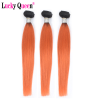 Lucky Queen Hair Brazilian Straight Hair 1B/Orange Color 100% Ombre Human Hair 3 Bundles 10 30 Inch Remy Hair Bundles
