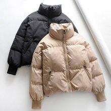 Женская теплая парка на молнии однотонная куртка цвета хаки